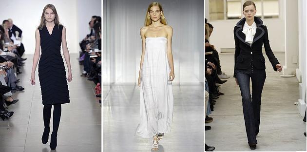 Stil minimalist: Jil Sander A/W 2008; Calvin Klein S/S 2008, Balenciaga A/W 2005