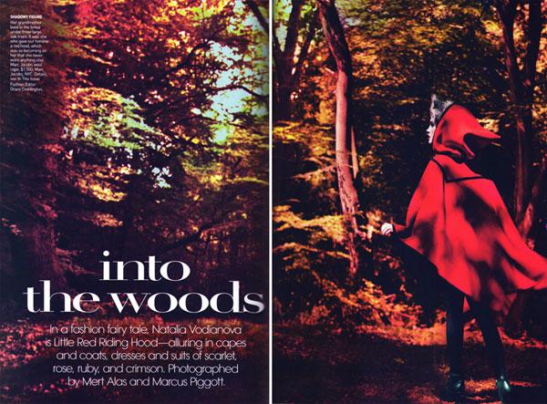 Into the woods - Natalia Vodianova pe post de Scufita Rosie pentru Vogue US, septembrie 2009