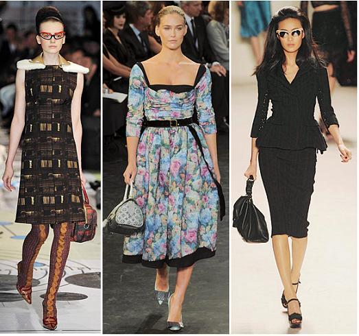 Prada, Louis Vuitton, Nina Ricci A/W 2010