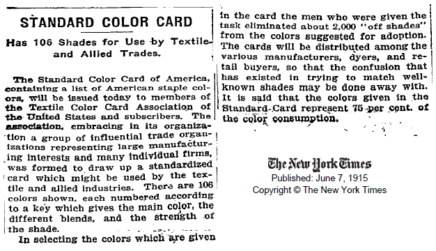 Stire despre paletarele originale TCAA, publicata in NY Times in iunie 1915