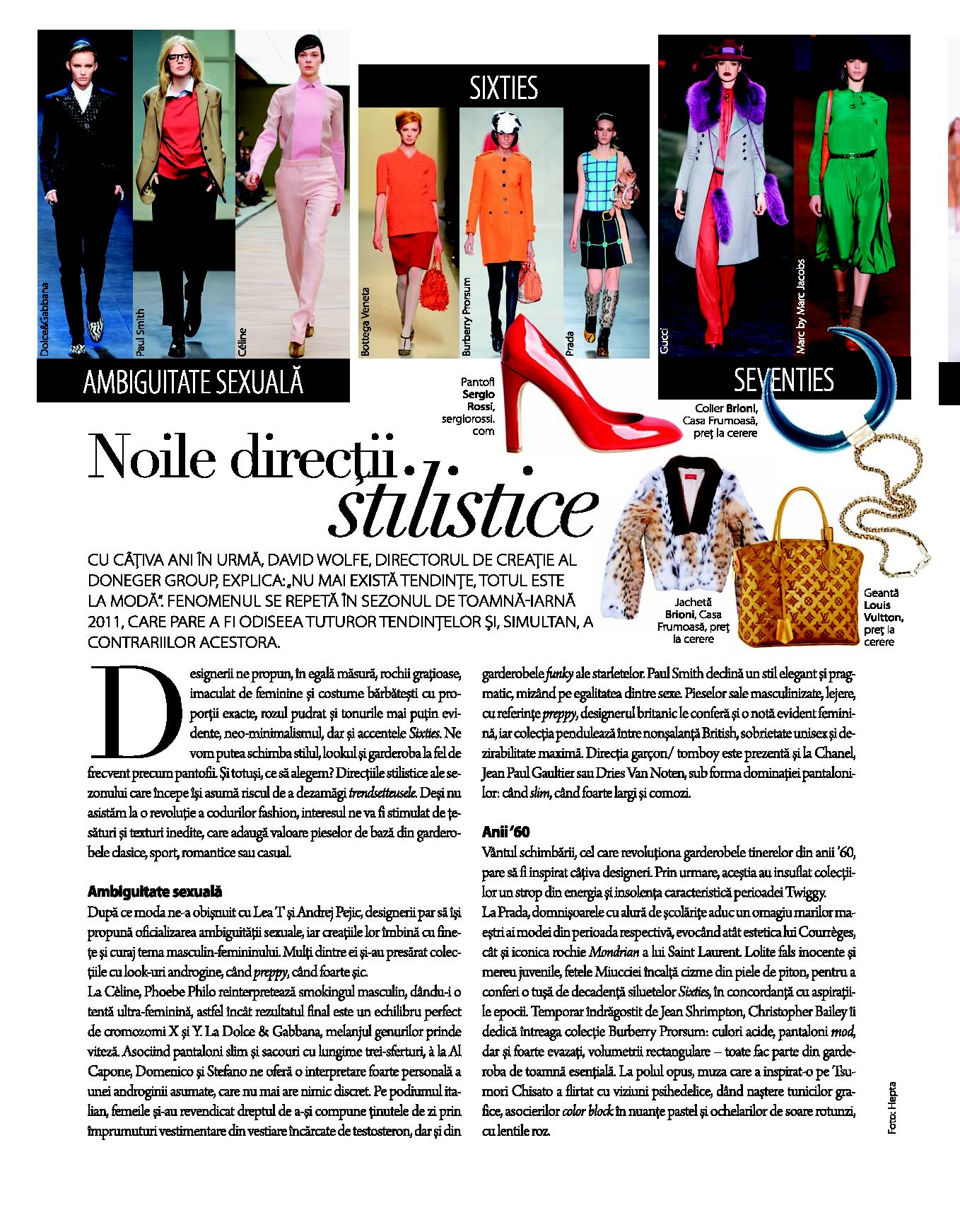 Noile directii stilistice, revista The One, septembrie 2011