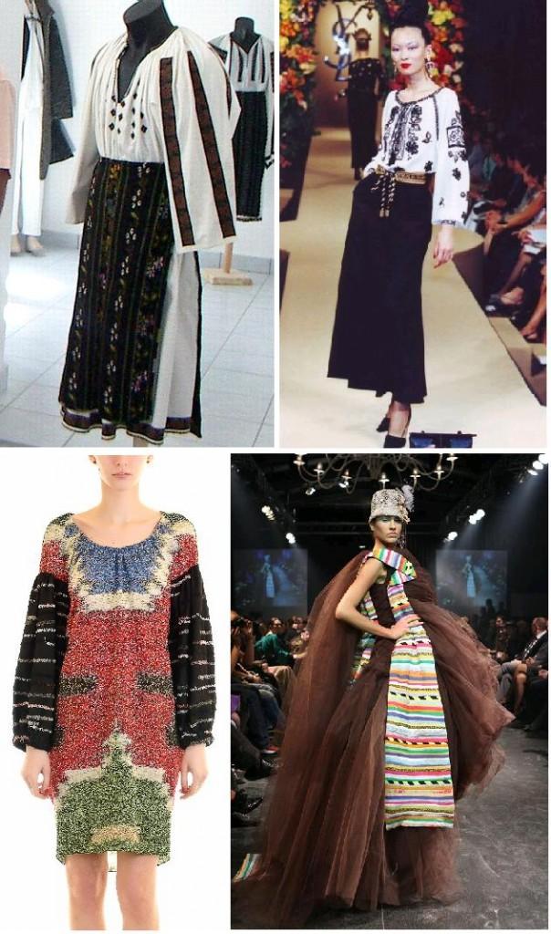 inspiratie romaneasca: ie olteneasca si bluza taraneasca YSL, rochie Adrian Oianu, rochie Lena Criveanu