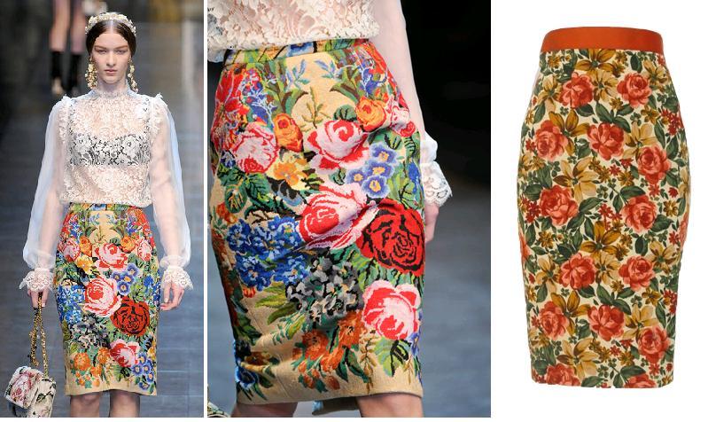 stanga: Dolce & Gabbana toamna-iarna 2012; dreapta: fusta Nissa