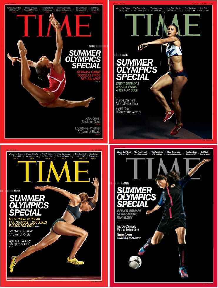 Copertile revistei Time dedicate Olimpiadei de la Londra 2012: Gabby Jones, Jessica Ennis, Lolo Jones si Homare Sawa