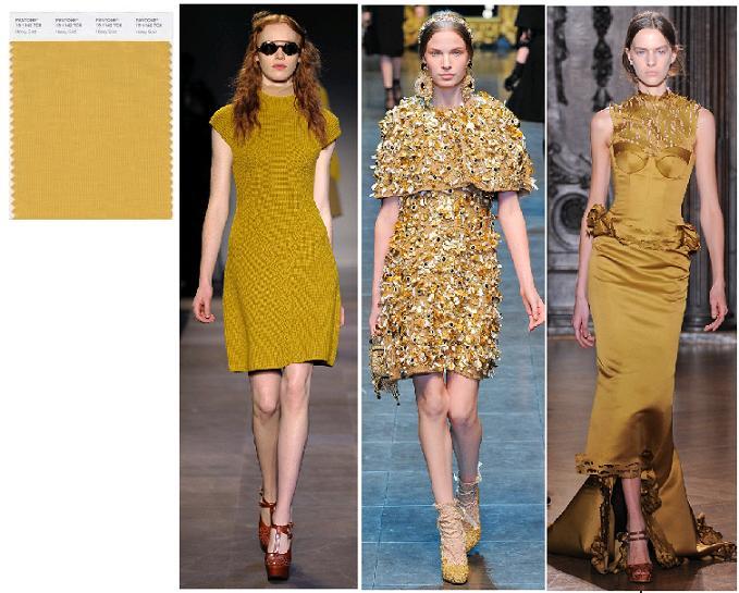 Honey Gold Pantone 2012: Carven, Dolce&Gabbana, Giles toamna-iarna 2012