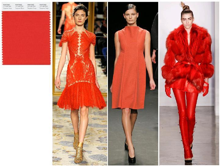 Tangerine Tango Pantone fall 2012: Marchesa, Calvin Klein, kevork Kiledjian toamna-iarna 2012