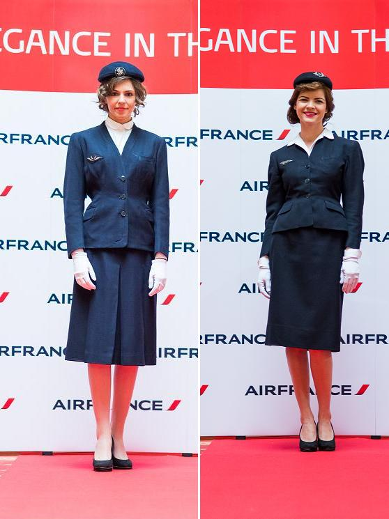 Uniformele Air France in anii '40 si '50: stanga Georgette Rénal; dreapta Georgette de Treze
