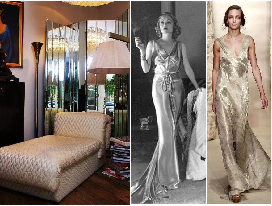 canapea chaise-longue la Supreme Gallery; rochie anii '30; rochie Donna Karan spring 2011