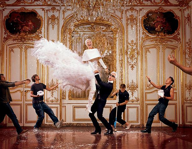 Linda Evagelista si Karl Lagerfeld