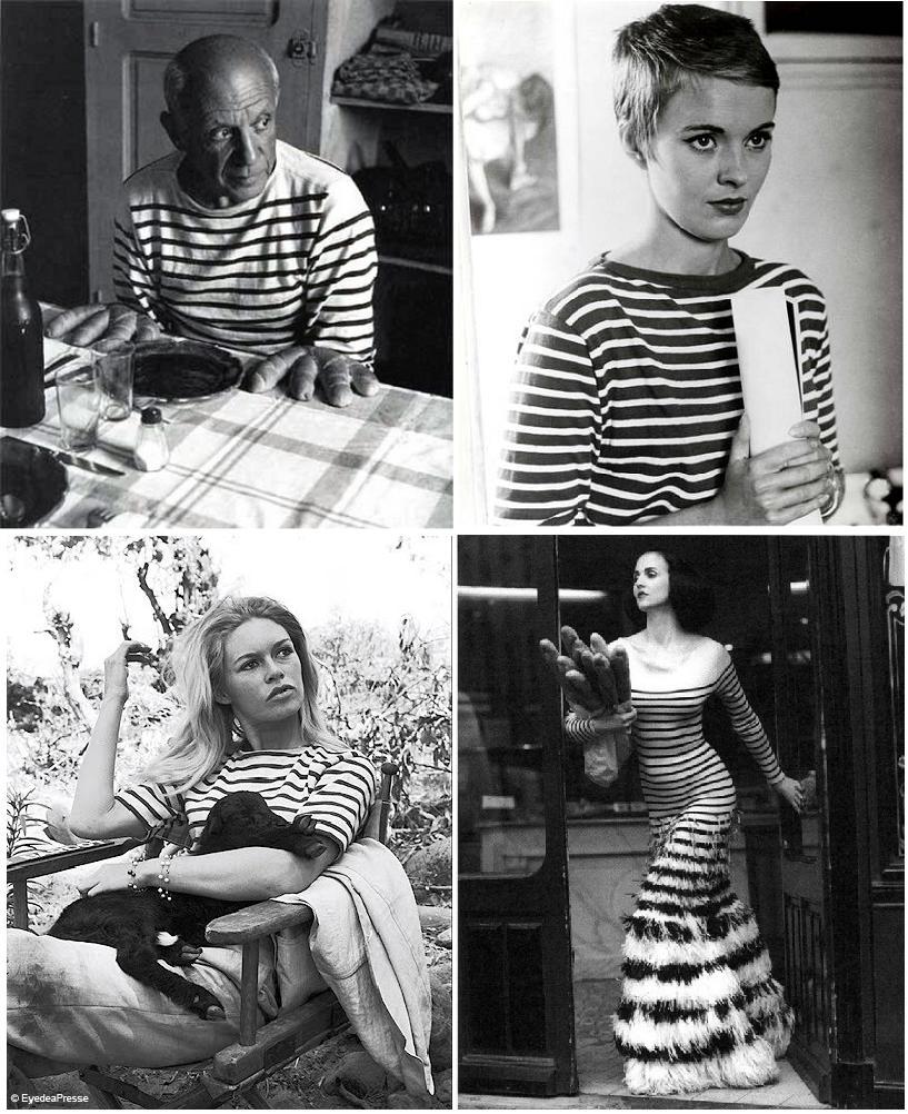 Tricoul cu dungi purtat de Pablo Picasso, Jean Seberg, Brigitte Bardot