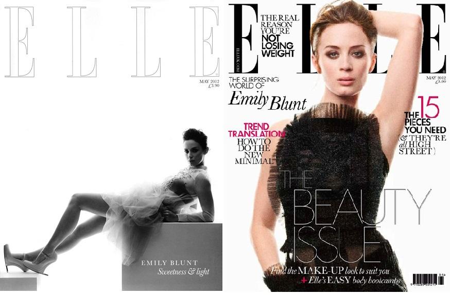 Coperti Elle cu Emily Blunt, mai 2012: abonament vs chiosc