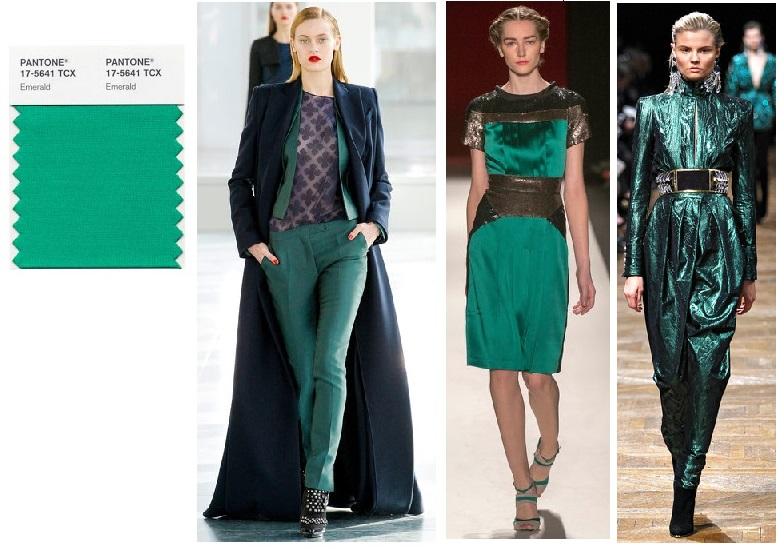 Emerald Green: Antonio Berardi, Carolina Herrera, Balmain