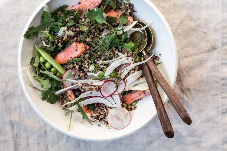 Salmon+over+Herbed+Grains+with+Salsa+Verde